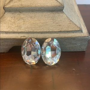 Vintage Oval Costume Sparkly Clip On Earrings